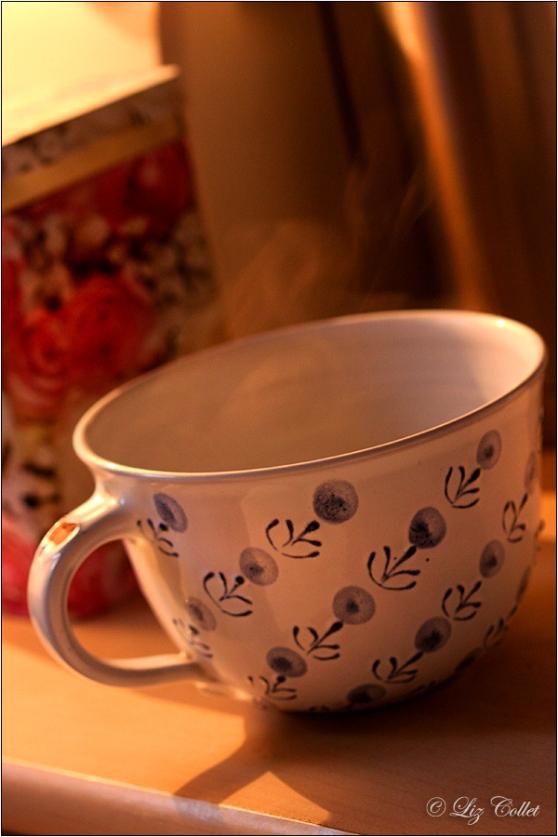 Der Duft von Kaffee © Liz Collet, Kaffeetasse, Teetasse, Suppentasse, heiss, Dampf, Rauch, heisse Tasse, Heissgetränk, hot beverage